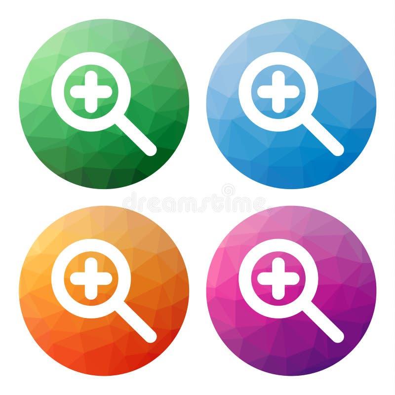 O grupo de 4 isolou baixos botões poligonais modernos - ícones - para o zo ilustração stock