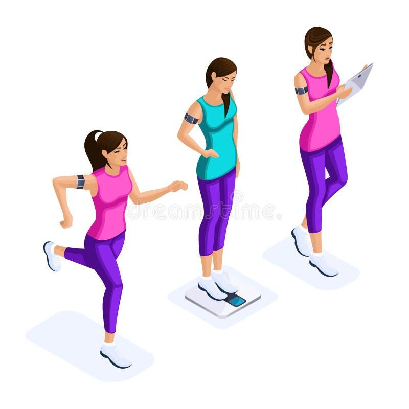 O grupo de Isometry de atletas bonitos das meninas, mantém a saúde, estilo de vida saudável, aptidão, ginástica, correndo nas sap ilustração stock