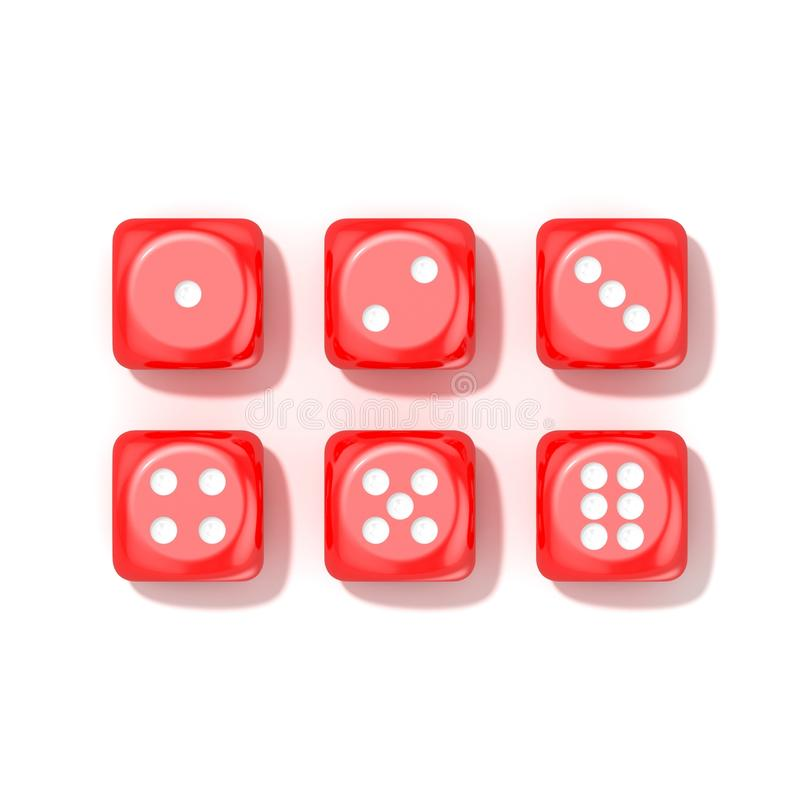 O grupo de jogo vermelho corta, todos os números Vista superior ilustração stock