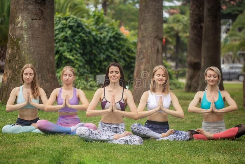 O grupo de jovens tem a meditação na classe da ioga Conceito da ioga fotos de stock royalty free
