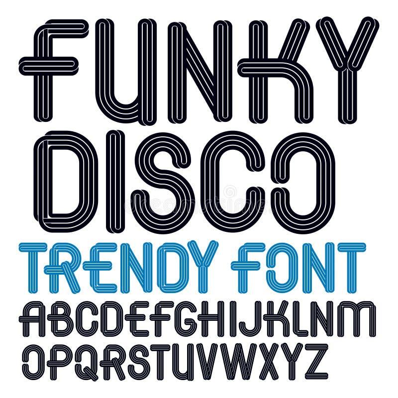O grupo de letras funky principais do alfabeto do vetor isoladas, pode ser nós ilustração stock