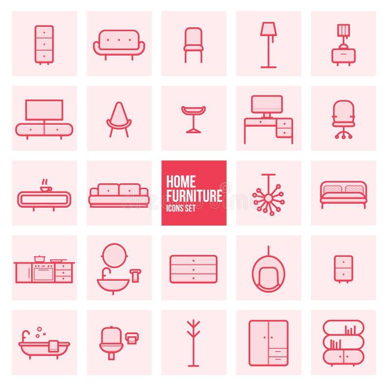 O grupo de linha fina simples ícones do vetor da mobília da casa do projeto ajustou-se para a Web ilustração stock