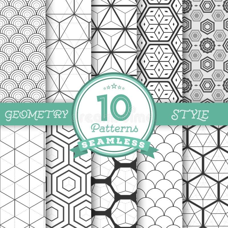 O grupo de 10 linhas geométricas sem emenda do vetor modela os fundos FO ilustração stock