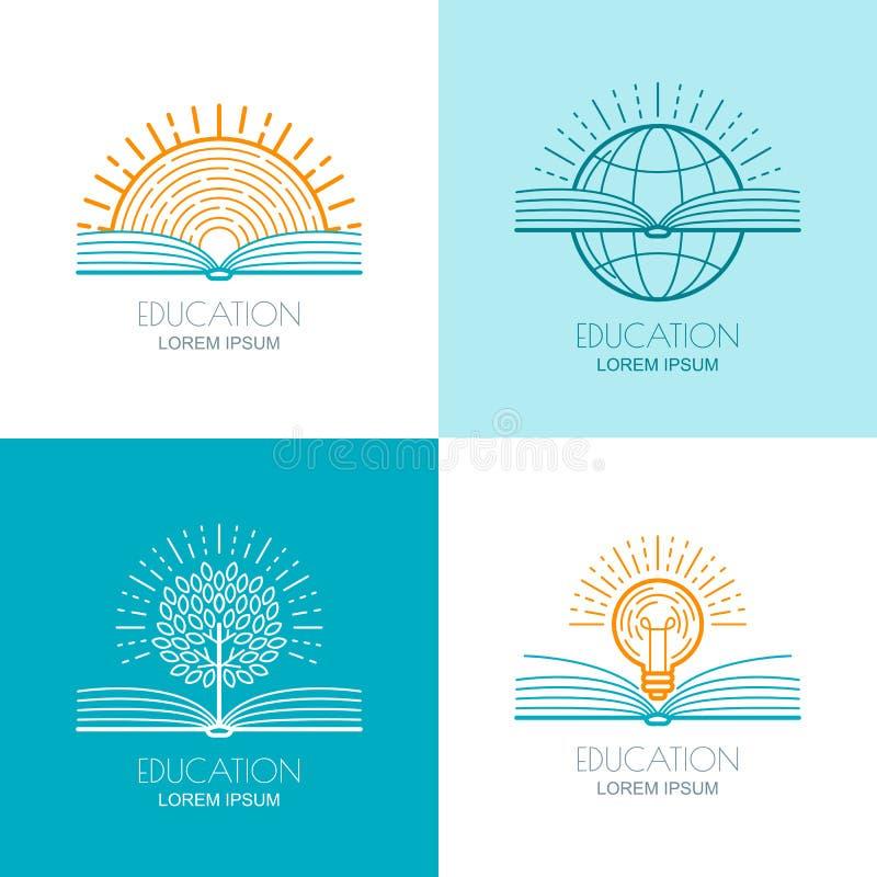 O grupo de logotipo da educação, ícones, emblemas projeta elementos O ilustração do vetor