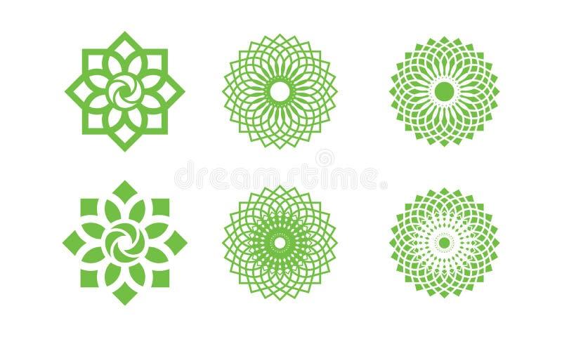 O grupo de logotipo da folha da natureza, logotipo do ambiente, molde do logotipo da ecologia projeta, elemento de Lotus Wellness ilustração royalty free