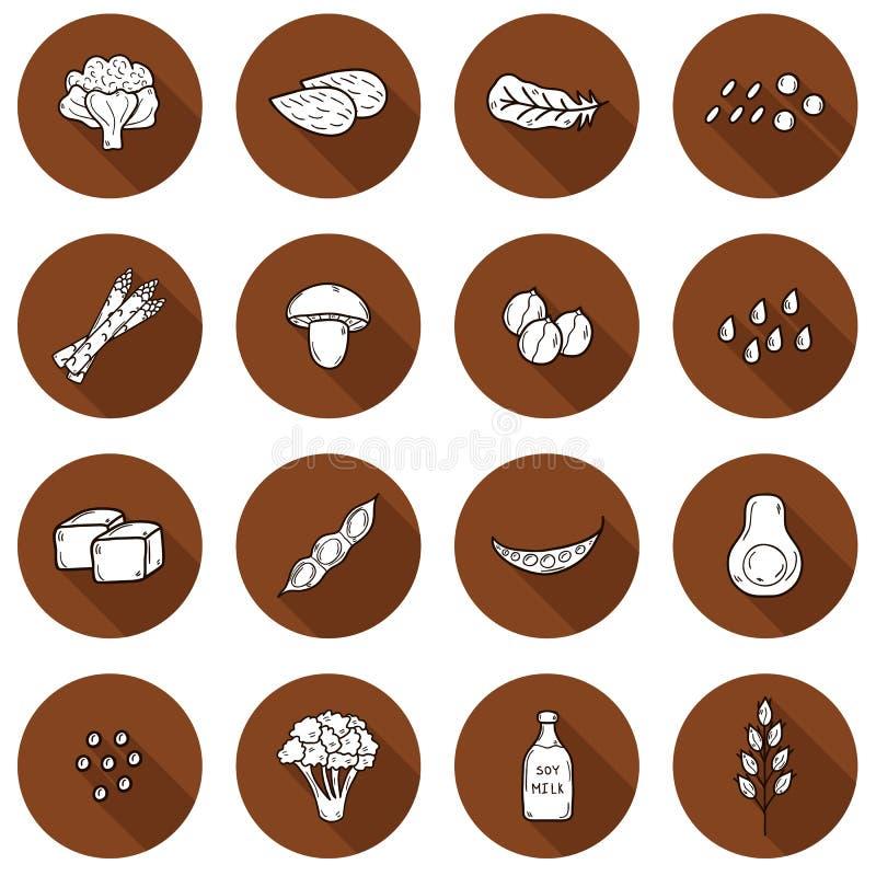 O grupo de mão dos desenhos animados tirado objeta na proteína do vegetariano ilustração royalty free