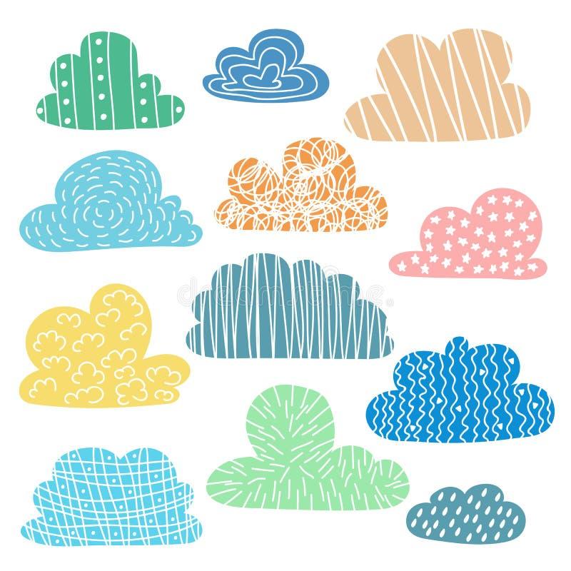 O grupo de mão tirado nubla-se com textura bonito ilustração stock