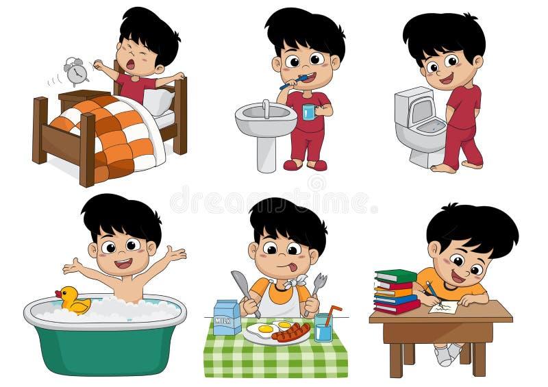 O grupo de menino bonito diário, menino acorda, escovando os dentes, xixi da criança, tomando ilustração royalty free
