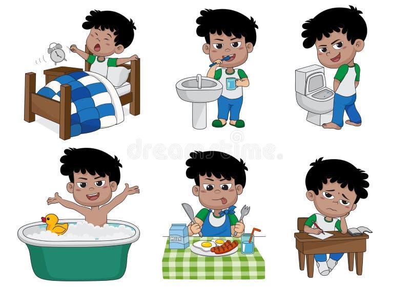 O grupo de menino bonito diário, menino acorda, escovando os dentes, xixi da criança, tomando ilustração stock