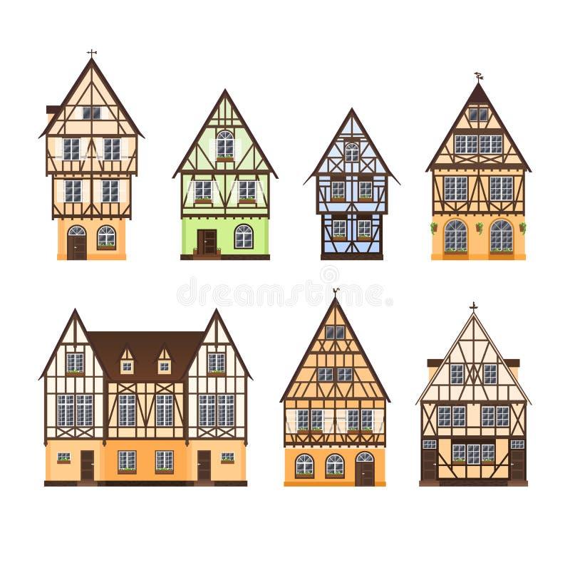 O grupo de metade colorida isolada suportou construções no fundo branco Coleção de fachadas lisas de casas de moldação europeias, ilustração royalty free