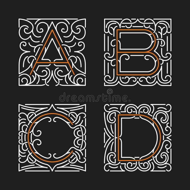 O grupo de moldes à moda do emblema do monograma Letras A, B, C, D Ilustração do vetor ilustração stock