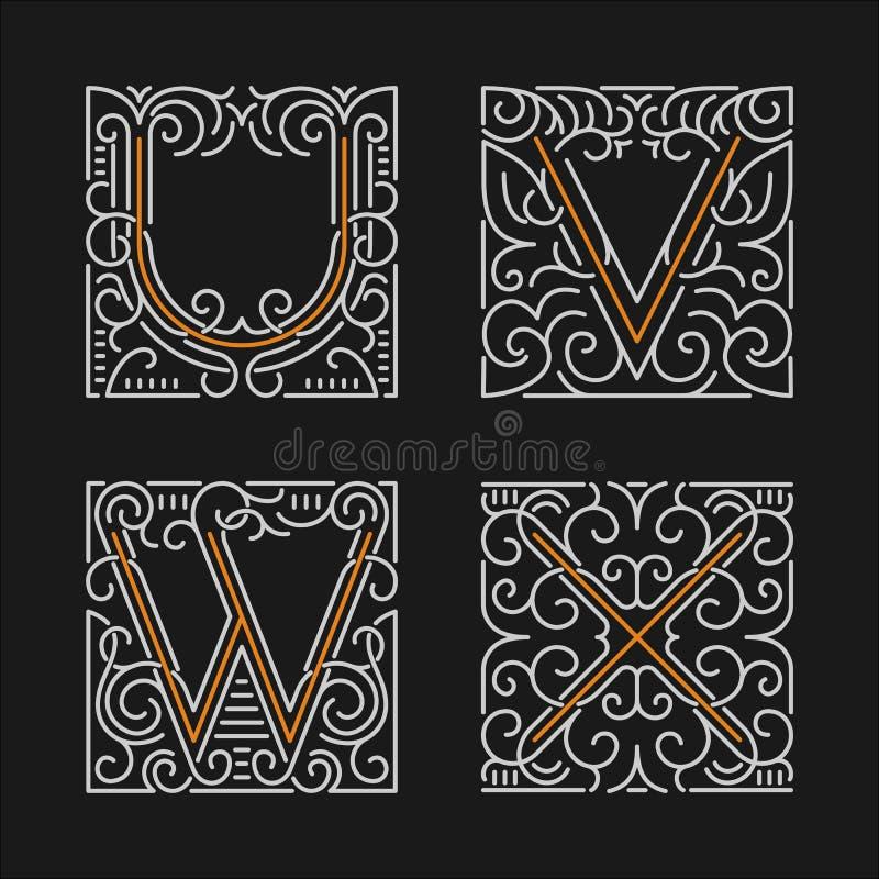 O grupo de moldes à moda do emblema do monograma Letras U, V, W, X Ilustração do vetor ilustração stock