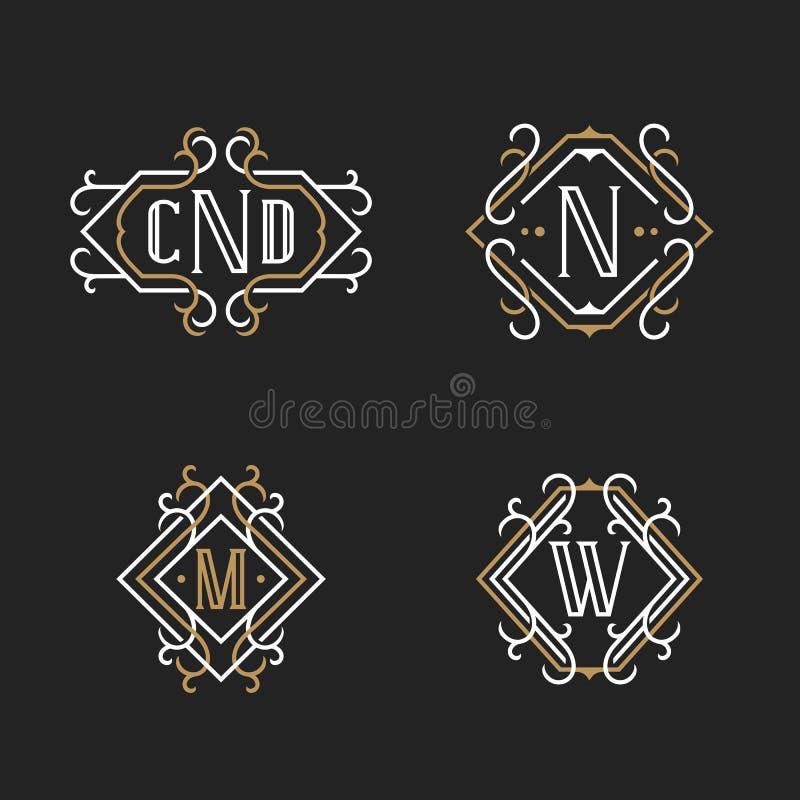 O grupo de moldes elegantes do emblema do monograma do vintage ilustração royalty free