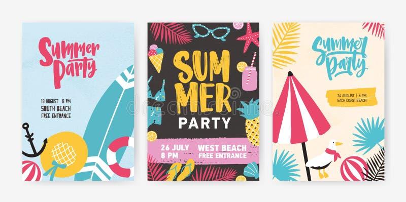 O grupo de moldes tropicais do cartaz ou do convite para a praia do verão party o anúncio Ilustração moderna do vetor dentro ilustração royalty free