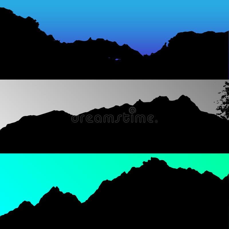 O grupo de montes do vetor e a montanha ajardinam a silhueta Árvores realísticas, madeiras em silhuetas do monte na noite e noite ilustração stock