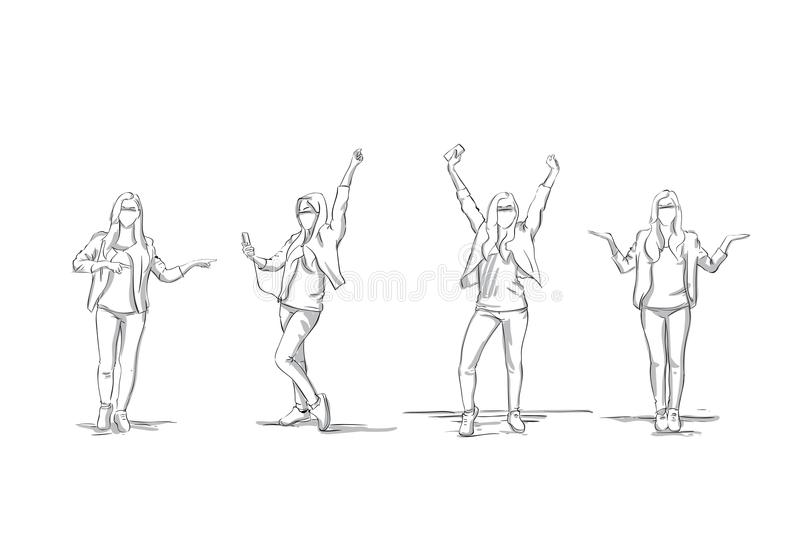 O grupo de mulher de negócio do esboço mostra em silhueta retirado e apontando ao espaço da cópia, branco de Full Length On da mu ilustração royalty free