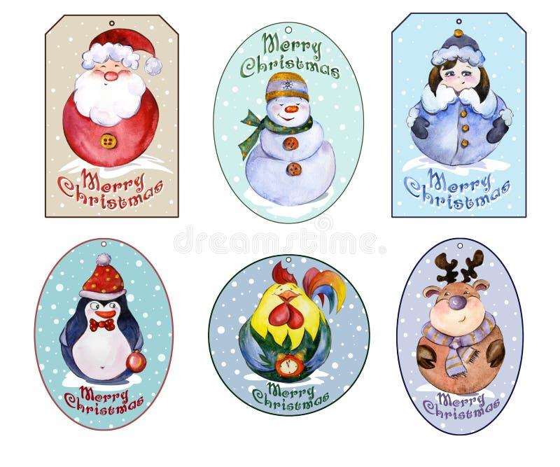 O grupo de Natal etiqueta com os animais novos e engraçados de Santa, de neve ilustração stock