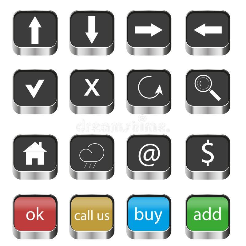 O grupo de navegação da Web abotoa ícones ilustração stock