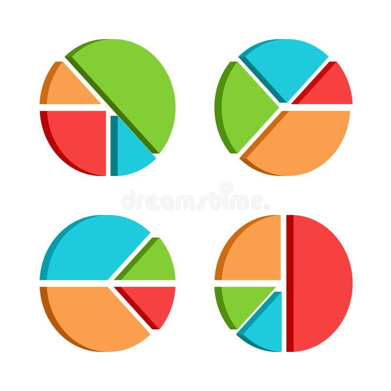 O grupo de negócio diagrams o molde com quatro segmen ilustração do vetor