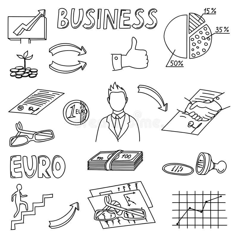 O grupo de negócio rabisca elementos Ícones da tração da mão ilustração stock
