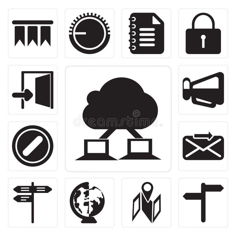 O grupo de nuvem que computa, o mapa, mundial, rua, envia, Forbidde ilustração royalty free