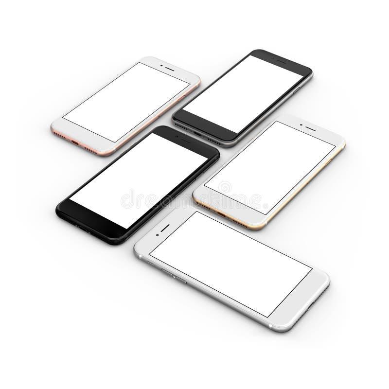 O grupo de ouro de cinco smartphones, aumentou, prateia, enegrece e enegrece lustrado ilustração royalty free