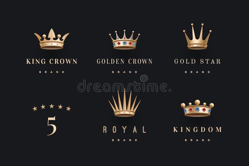 O grupo de ouro real coroa o ícone e o logotipo ilustração royalty free