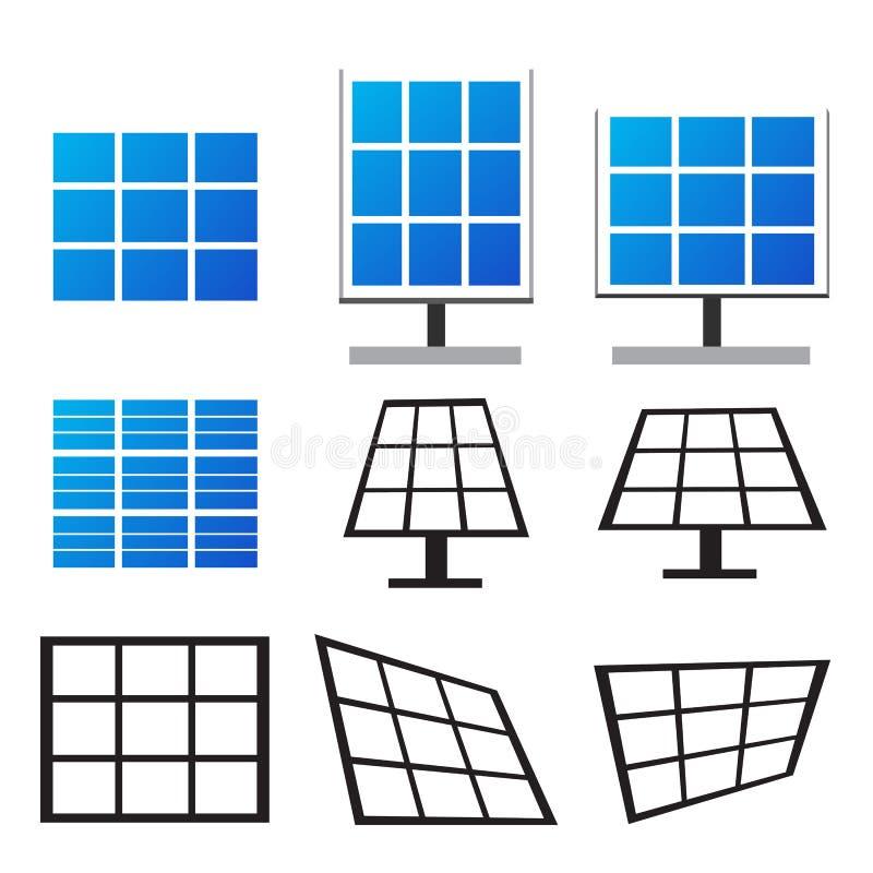 O grupo de painéis solares em muitos denomina ilustração do vetor