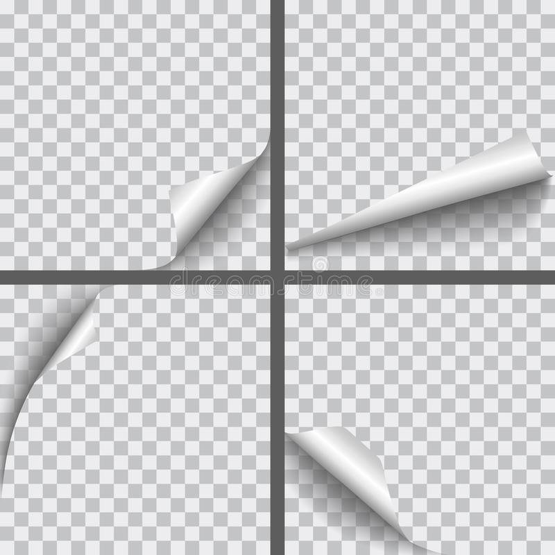 O grupo de papel realístico do vetor ondulou cantos com isolat das sombras ilustração stock