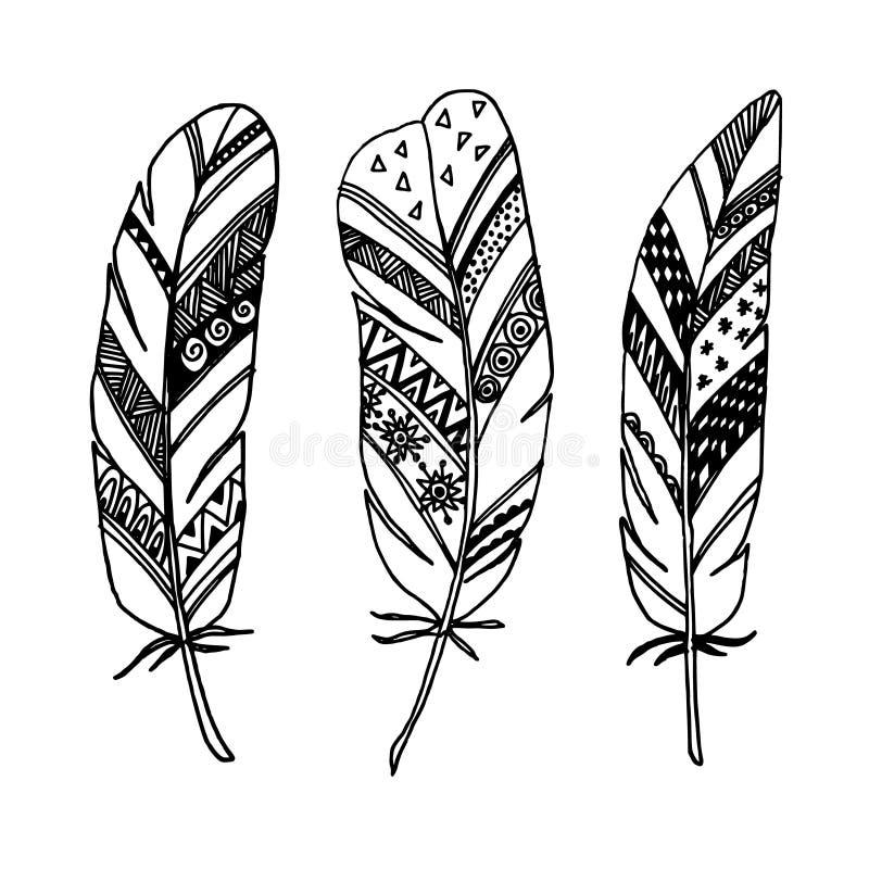 O grupo de penas decorativas tiradas mão, linha arte, zentangle inspirou s ilustração stock