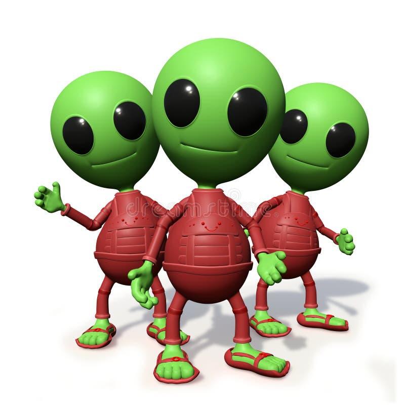 O grupo de personagem de banda desenhada estrangeiro pequeno bonito que olha, visitantes forma a ilustração do espaço 3d, no fund ilustração do vetor
