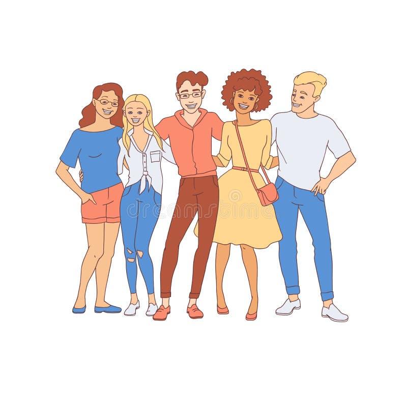 O grupo de pessoas da diversidade abraça - entregue homens novos tirados e as mulheres ficam junto com sorrisos felizes ilustração royalty free