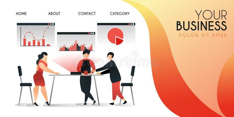 O grupo de pessoas que estão tentando as novas tecnologias apresentar seu trabalho, conceito da ilustração do vetor, pode ser uso ilustração do vetor