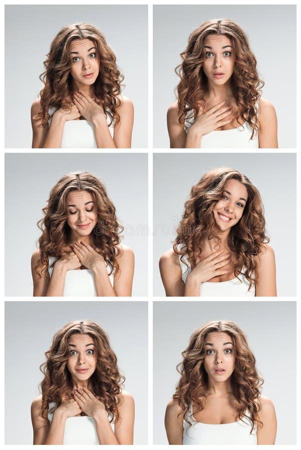 O grupo de portraites fêmeas com expressão facial chocada imagem de stock royalty free