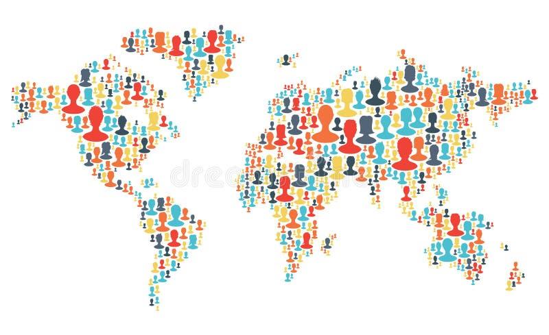 O grupo de povos coloridos mostra em silhueta a fatura de um planeta da terra ilustração royalty free