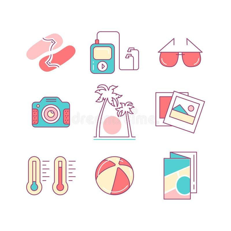 O grupo de praia simples moderna isolada de Minimalistic alinha finamente ícones da cor ilustração royalty free