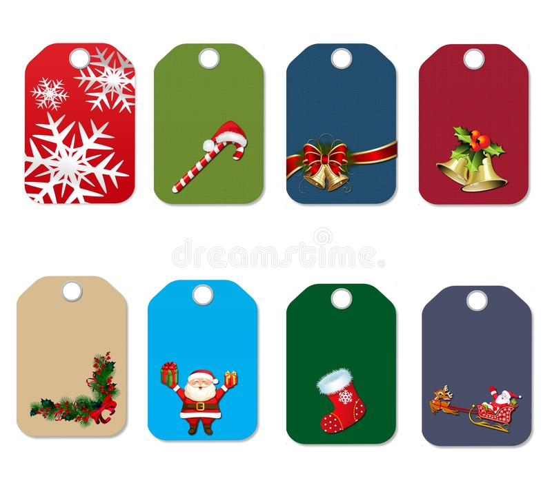 O grupo de presente do Natal e do ano novo etiqueta ilustração do vetor