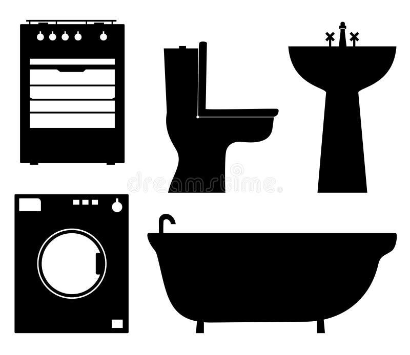 O grupo de preto isolou silhuetas do contorno de aparelhos eletrodomésticos, mobília do banheiro ilustração stock
