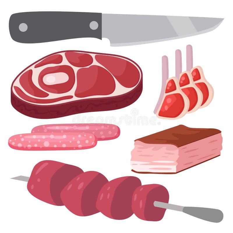 O grupo de produtos da carne de cordeiro gourmet da fatia da refeição dos desenhos animados cozinhou a ilustração do vetor ilustração stock