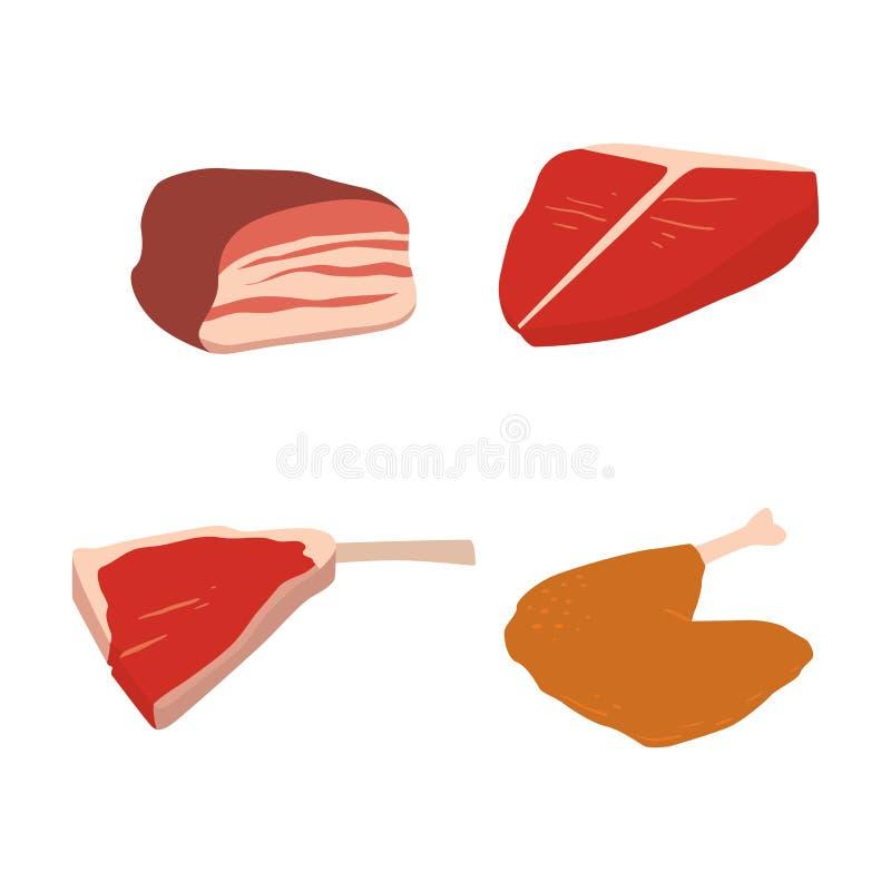 O grupo de produtos da carne da variedade deliciosa do no espeto do assado dos desenhos animados de variedade gourmet deliciosa d ilustração do vetor