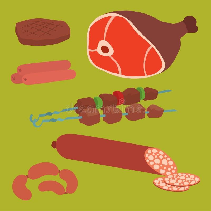 O grupo de produtos da carne da variedade deliciosa do no espeto do assado dos desenhos animados de variedade gourmet deliciosa d ilustração stock