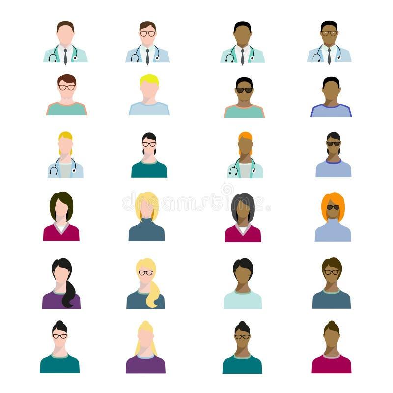 O grupo de profissão dos avatars dos povos, ocupação humana profissional, caráteres básicos ajustou-se, variedade do empregado no ilustração royalty free