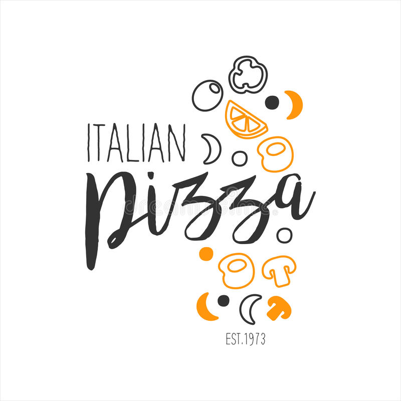 O grupo de promoção italiana do menu do café da rua do fast food da pizza da qualidade superior dos ingredientes assina dentro mã ilustração do vetor
