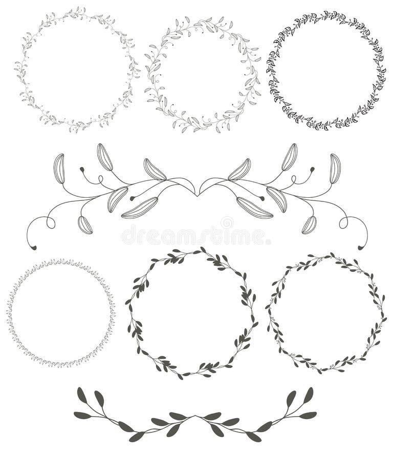O grupo de quadro decorativo dos whorls do vintage redondo do flourish sae no fundo branco caligrafia do vetor ilustração stock