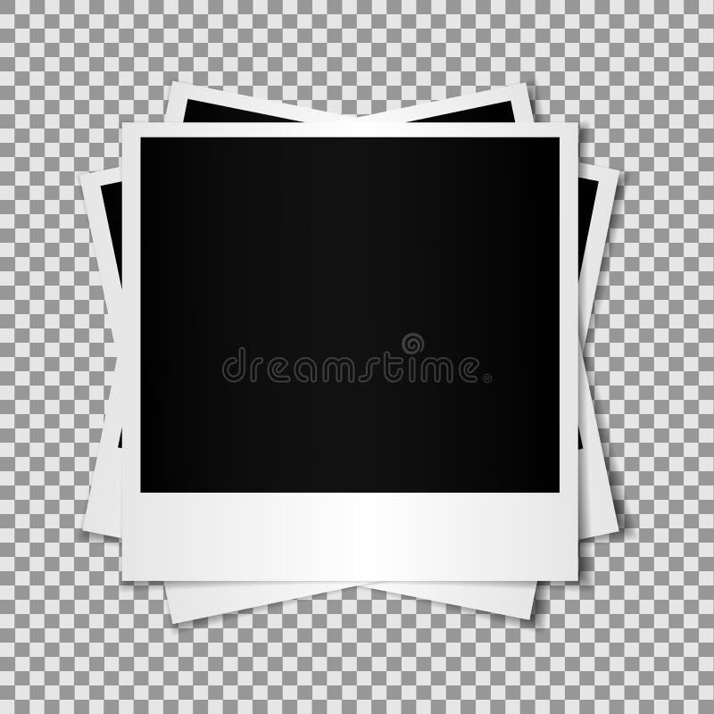 O grupo de quadro vazio misturado do polaroid da foto isolado no fundo transparente, efeito de sombra e esvazia ilustração royalty free