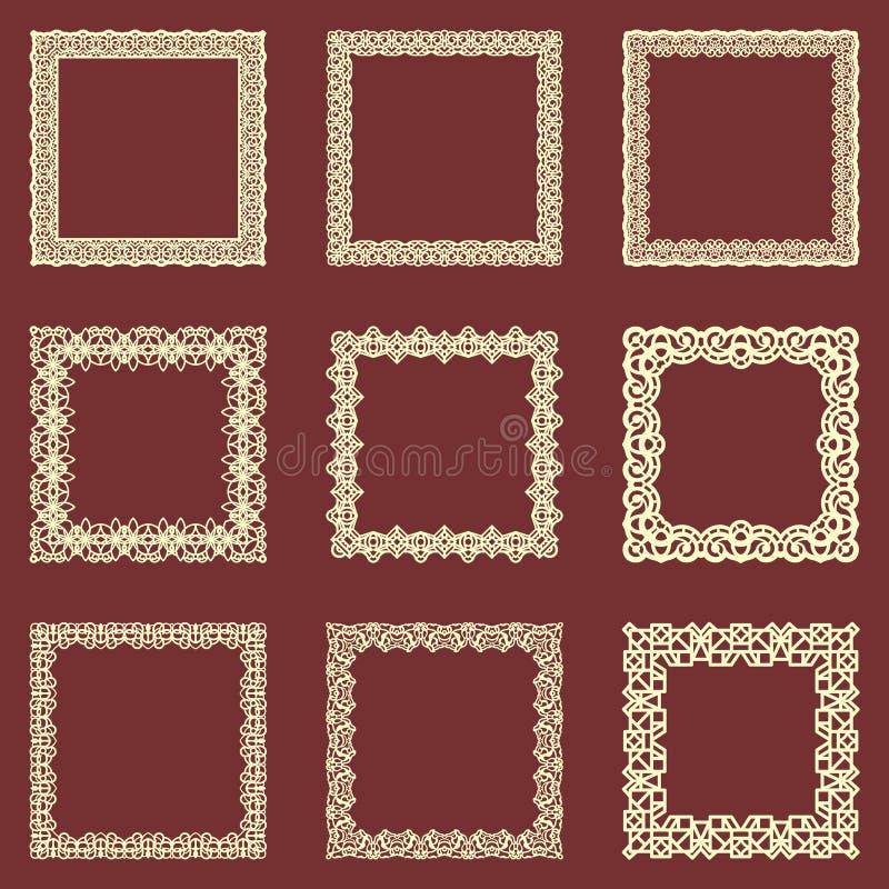 O grupo de quadros quadrados do vintage isolou o fundo Vector os elementos do projeto que podem ser cortados com um laser Um grup ilustração stock