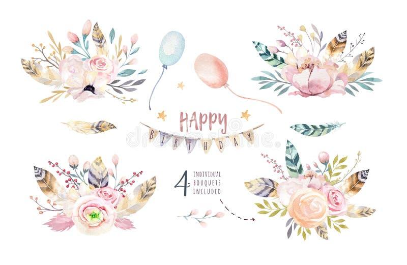 O grupo de ramalhete do vintage do boho, os elementos da aquarela das flores, o jardim e as flores selvagens, folhas, ramificam f ilustração royalty free