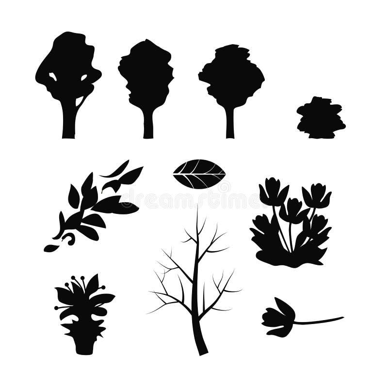 O grupo de ramos pretos das silhuetas da árvore das folhas do voo das flores no branco isolou o fundo ilustração stock
