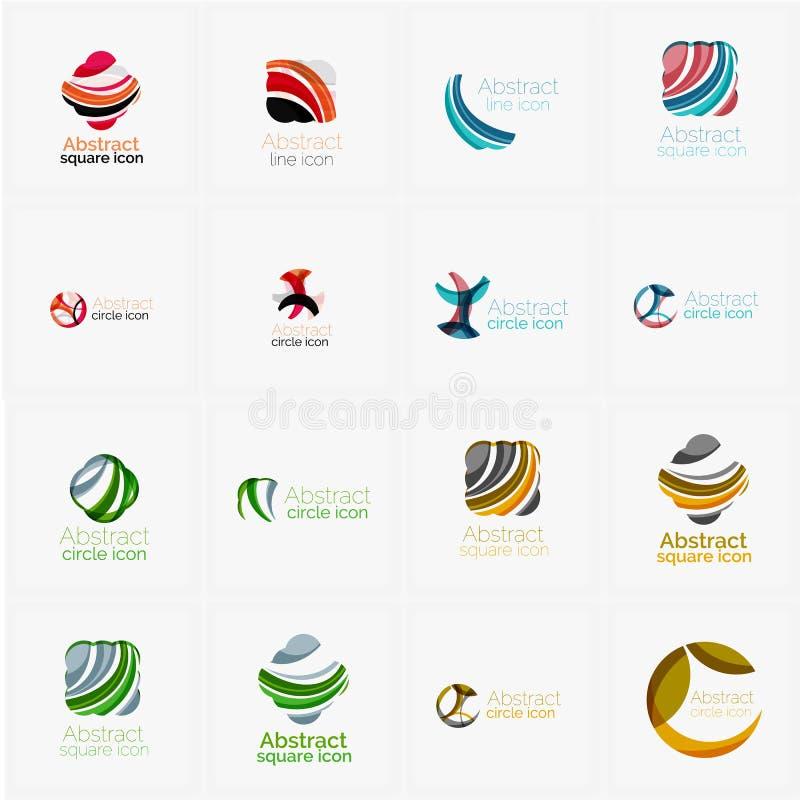 O grupo de redemoinho, onda alinha, ícones do logotipo do círculo ilustração do vetor