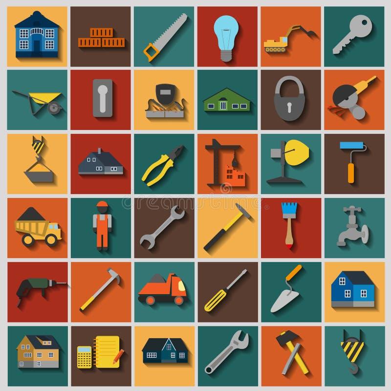 O grupo de reparo da casa utiliza ferramentas ícones ilustração royalty free